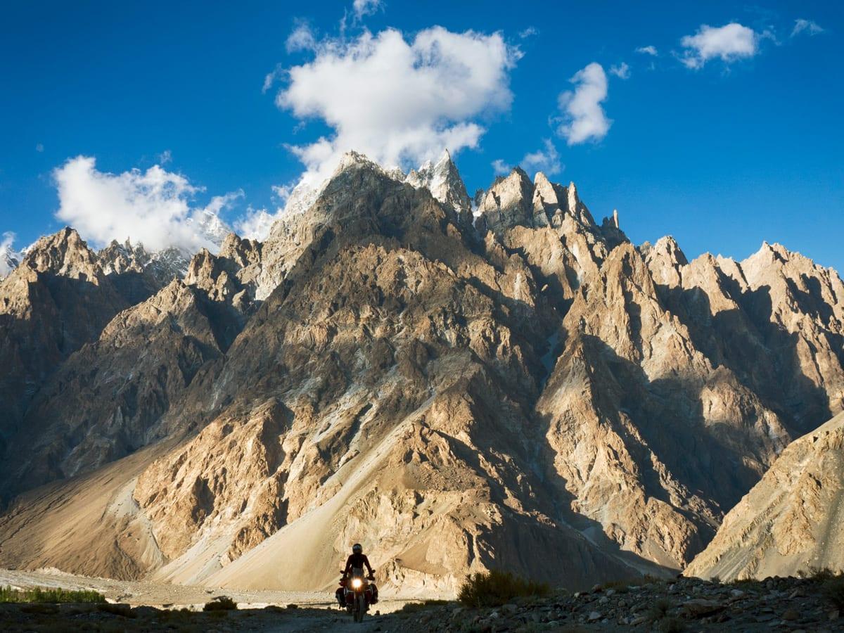 Zofia riding across mountains