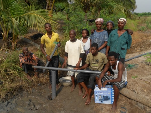 Family who were present during digging of borehole in Srohume Village