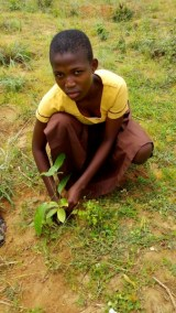 PUPIL WITH HER PLANTED TREE