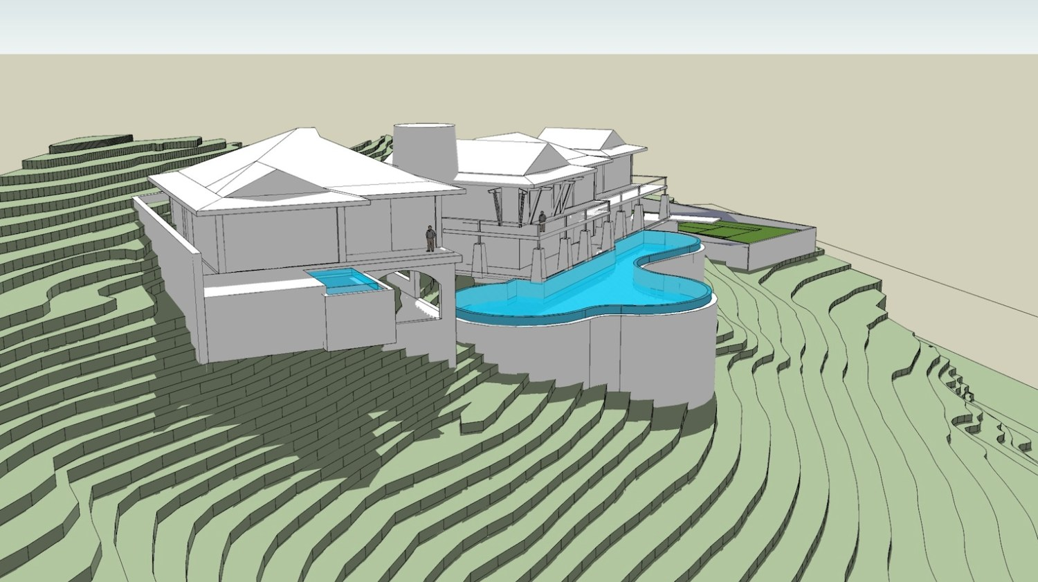 This early stage SketchUp model, bereft of the actual lush vegetation on the site, reveals the dramatic slope and vertical dimensions of the project site.