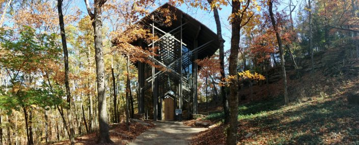 Thorncrown chapel and vicinity, exterior, day.