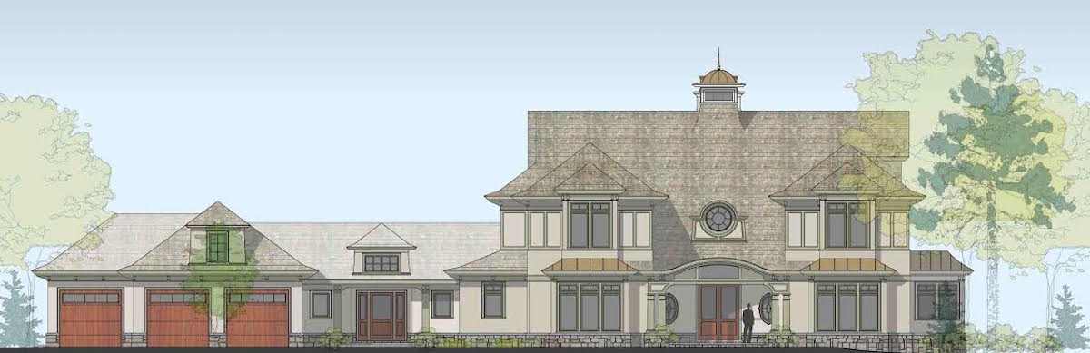 Rendering shingle-style influenced home west of Boston.