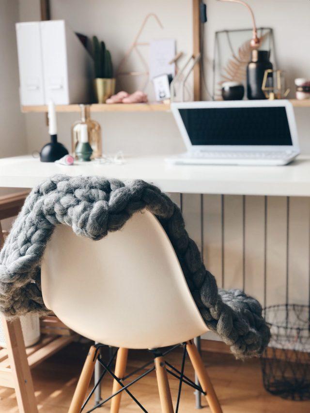 white chair with grey merino wool