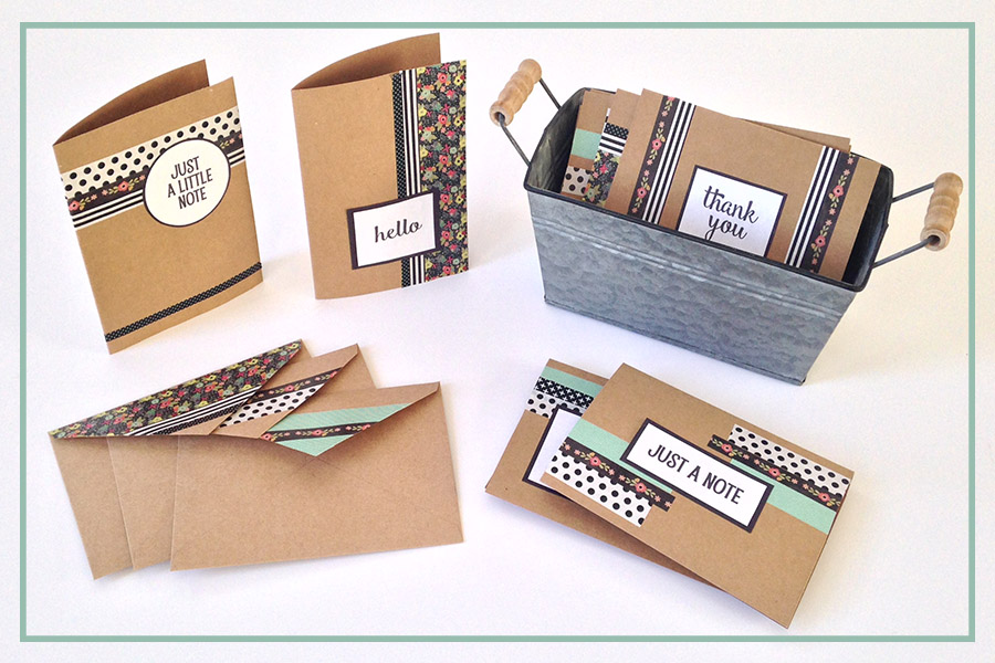 DIY Washi Tape Notecards: Free Printable Embellishments
