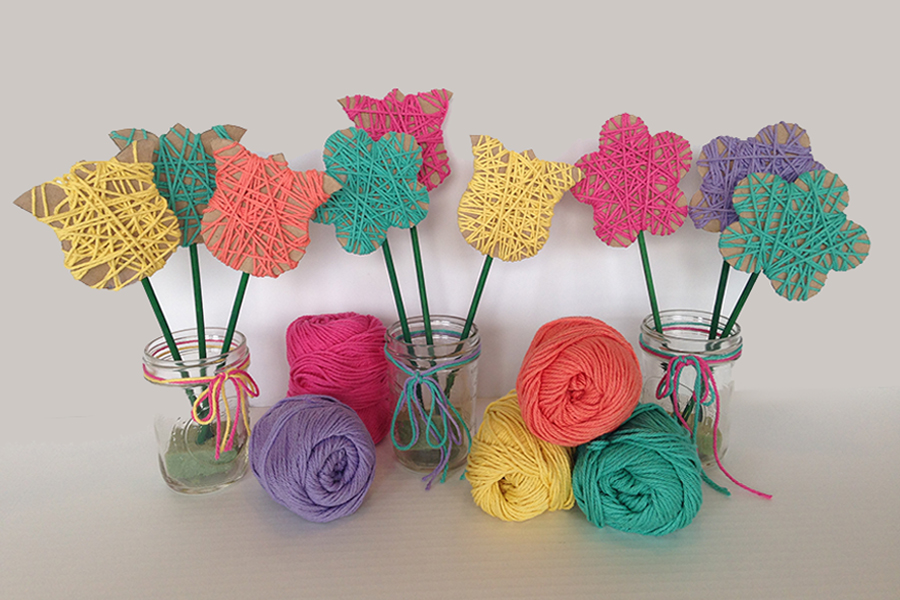 Mason Jar Yarn Flowers
