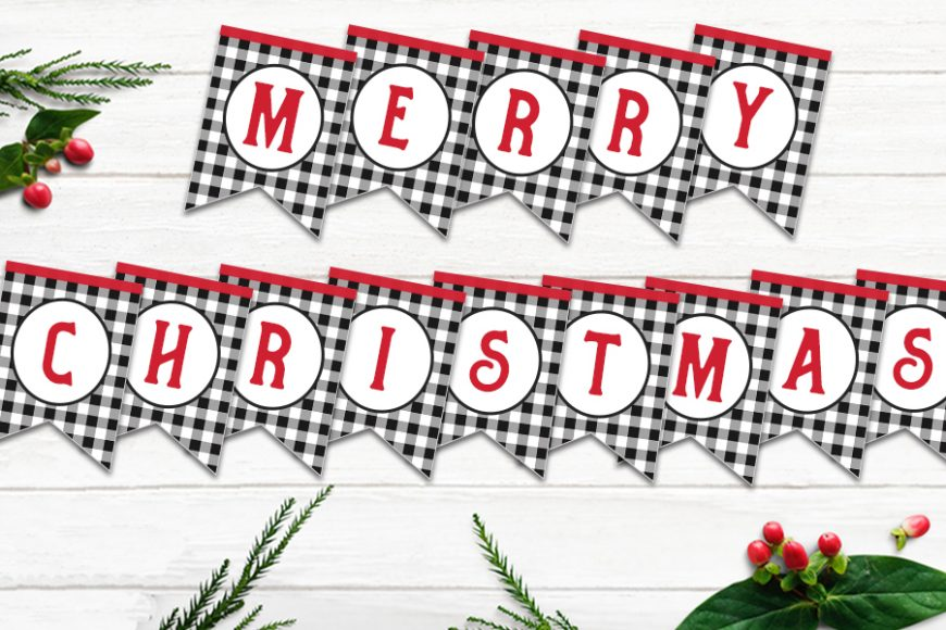 Plaid Merry Christmas Bunting