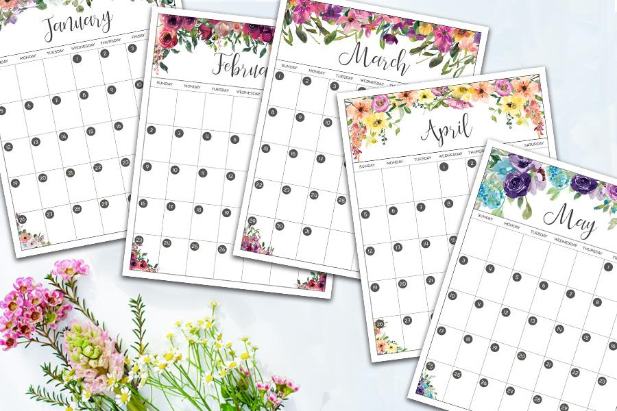 Free Printable Floral Calendar