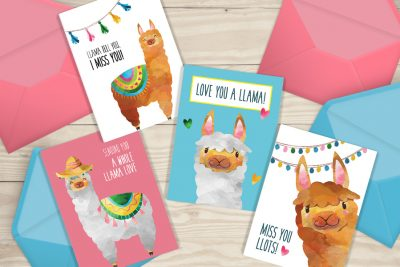 "Free Printable ""Missing You"" Llama Cards"