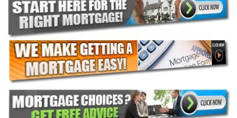 3 banners showing the options to attract new mortgage marking customers.