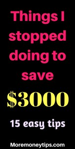 Things I stopped doing to save $3000