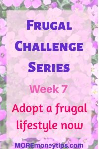 Frugal Challenge Series. Week 7. Adopt a frugal lifestyle now.