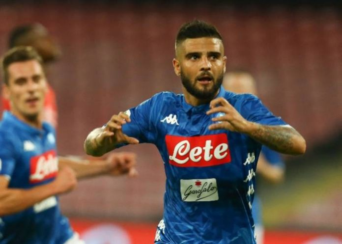 Napoli's Lorenzo Insigne celebrates his goal against Fiorentina.  CARLO HERMANN-AFP-Getty Images