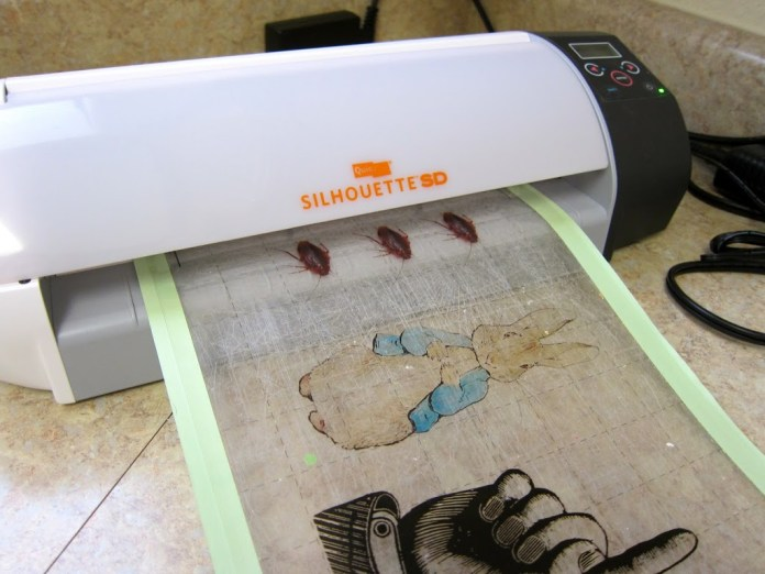 Silhouette cutting transparency paper