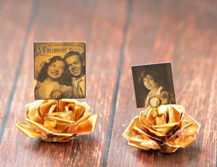 Make metal flower photo holders.