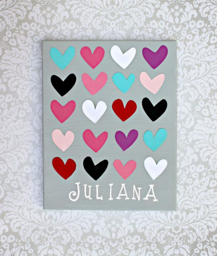 Make a heart wall art DIY to decorate any room with.