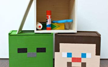 Minecraft Storage Boxes DIY: Steve, Skeleton, and Zombie