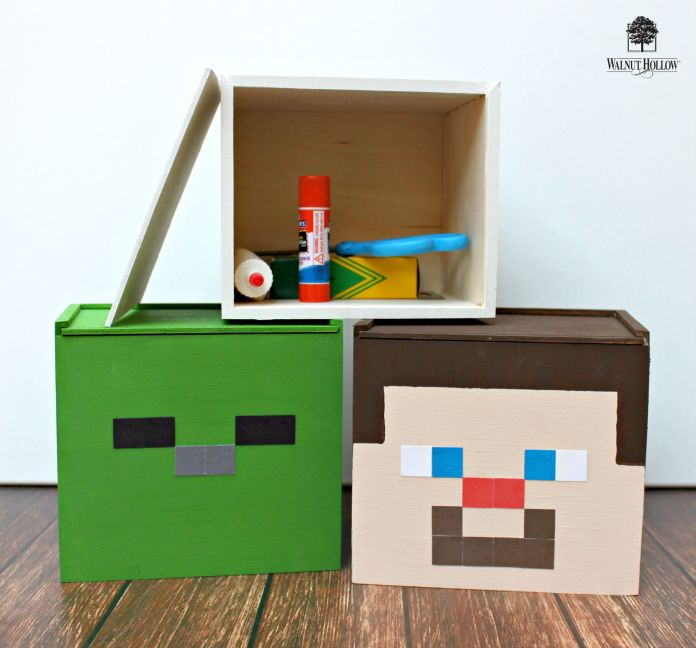 Minecraft Storage Boxes DIY: Steve, Skeleton, and Zombie