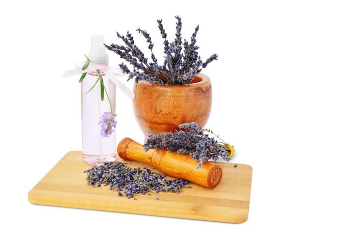 Lavender flowers in mortar, hydrosol bottle on wooden board isolated on white background.