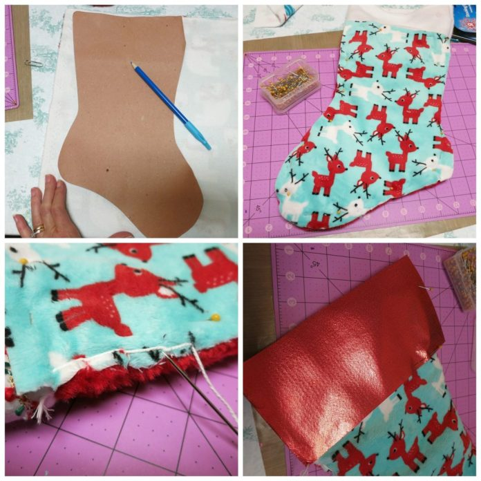 """Make last minute Christmas stockings quickly and easily! I """"cheated"""" and saved time by using Cuddle fabric and my trusty glue gun!"""