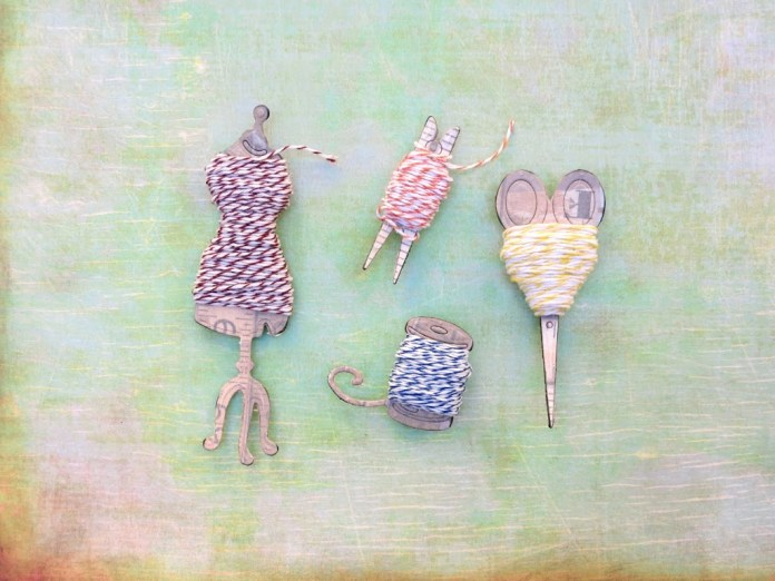 Make your own fun shaped baker's twine holder with die cuts and chipboard!