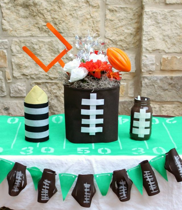 Football party decor is quick and easy to make when you use Oly-Fun non fraying fabric. These no sew projects are perfect for Super Bowl.