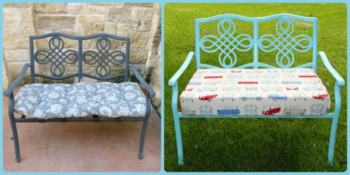 before after bench makeover.  Use VW bus fabric to give an old bench new life!