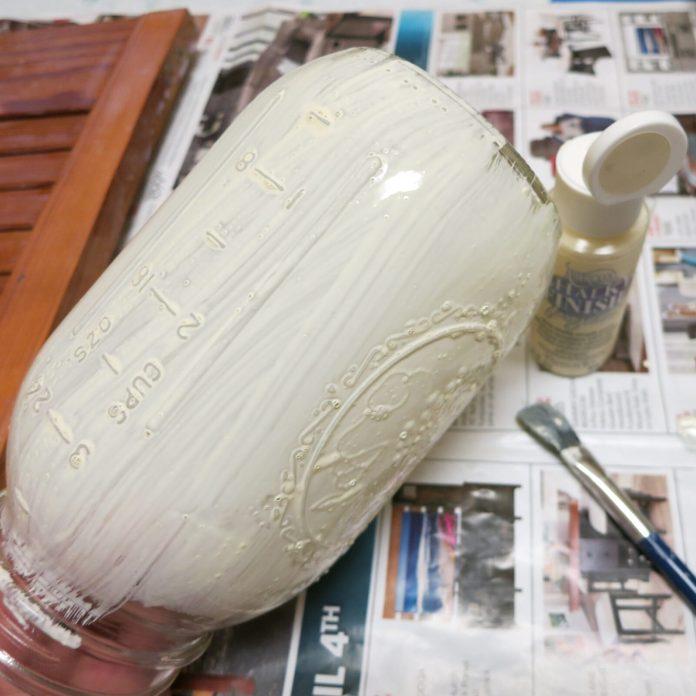glass paint on mason jar