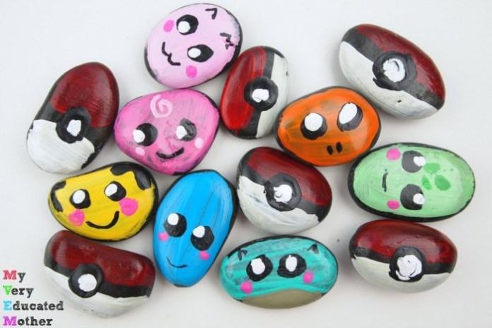 Pokemon Kids Craft Painted Rocks
