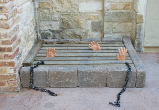 Create a realistic looking underground dungeon to decorate your front porch or lawn with this Halloween!