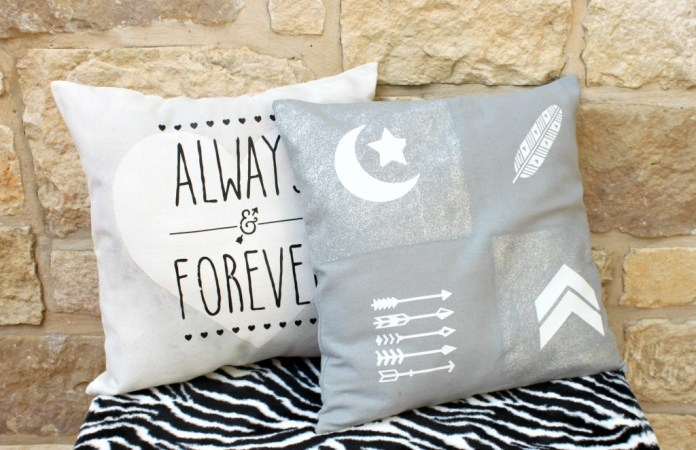 Make trendy accent pillows quickly using glitter fabric paint and iron on transfers.