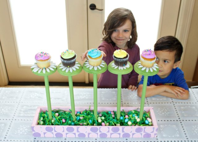 Welcome spring with this delightful garden inspired cupcake stand! This fun piece will delight your guests and creates a unique focal point for your table.