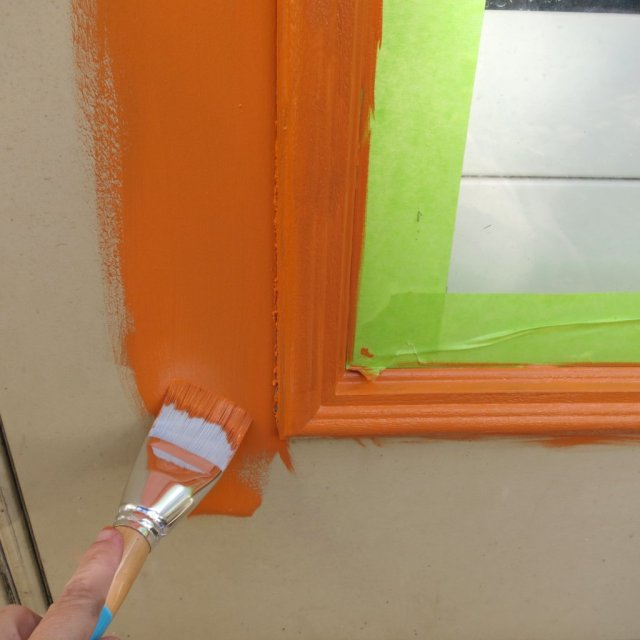 Patio Door Refresh:  Mid Century Modern Orange Makeover
