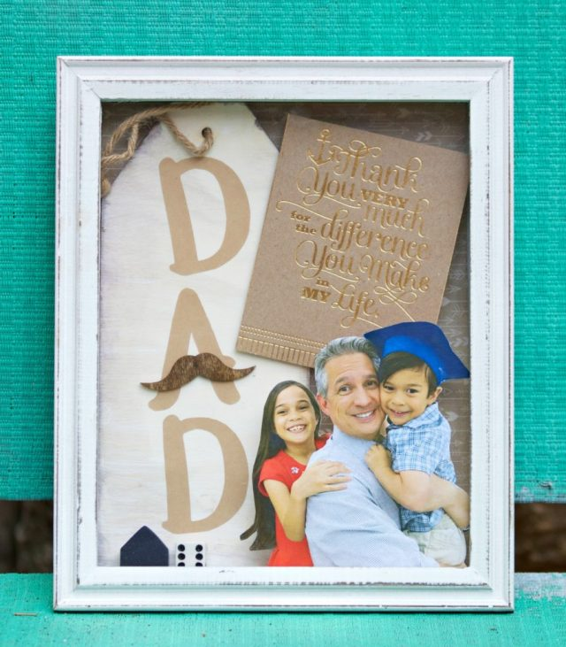 Surprise dad with a father's day shadow box. This personalized photo gift is a quick project that he will treasure for years.