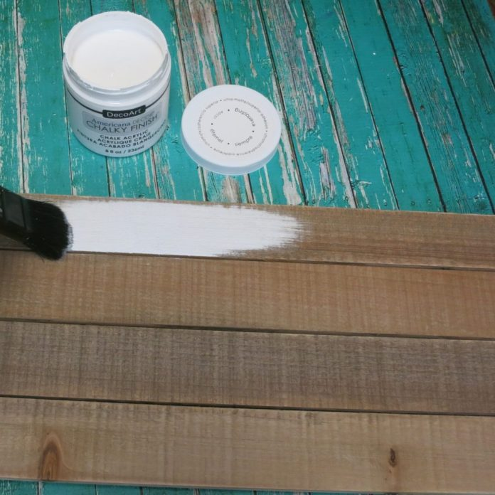white chalk paint on pallet