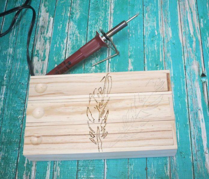 wood burn pencil box