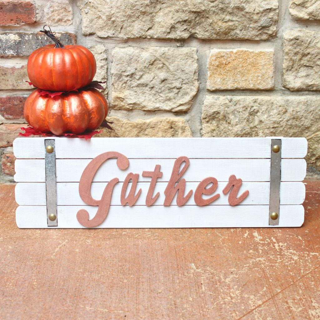 Gather sign fall decor tutorial