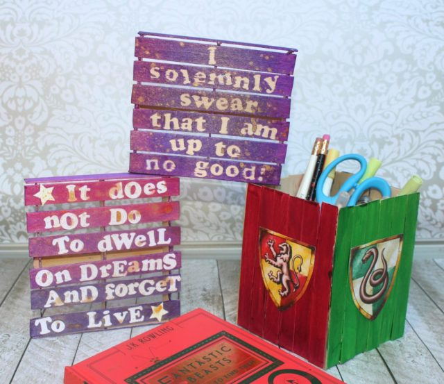 I made some mini pallet Potter inspired wall art as well as a pencil holder out of craft sticks.  This makes perfect desk decor!