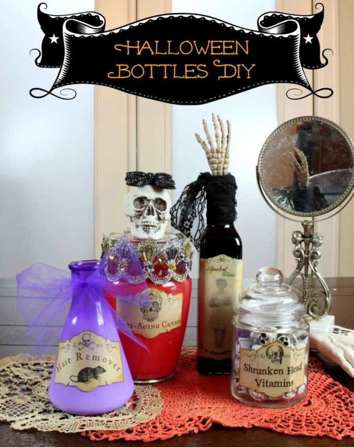 Free printable Halloween labels will help you quickly make these creepy Halloween bottles. This fun decor is easy to make!