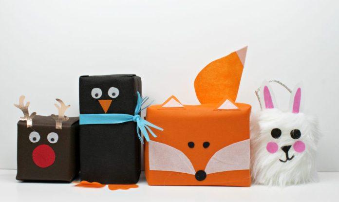 animal shape gift wrap tutorial