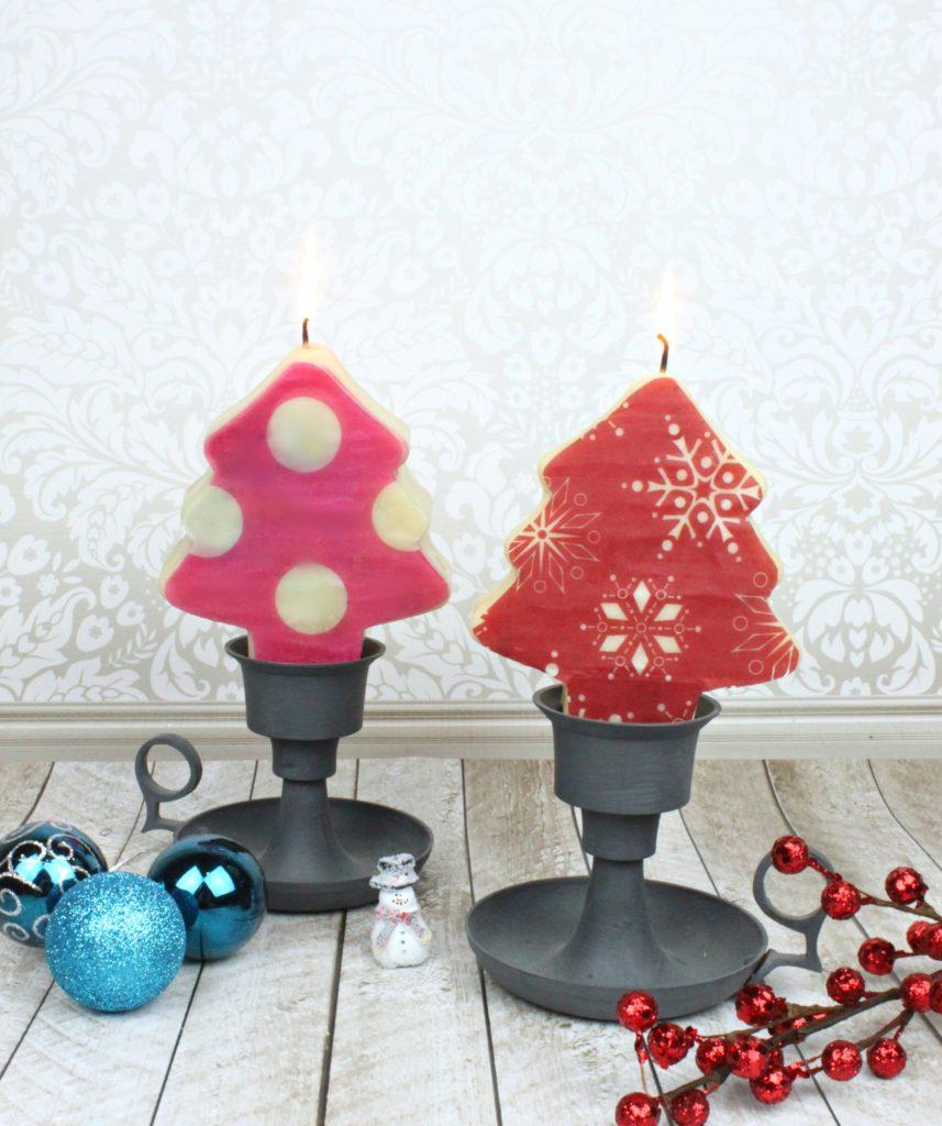 cute DIY Christmas tree candles