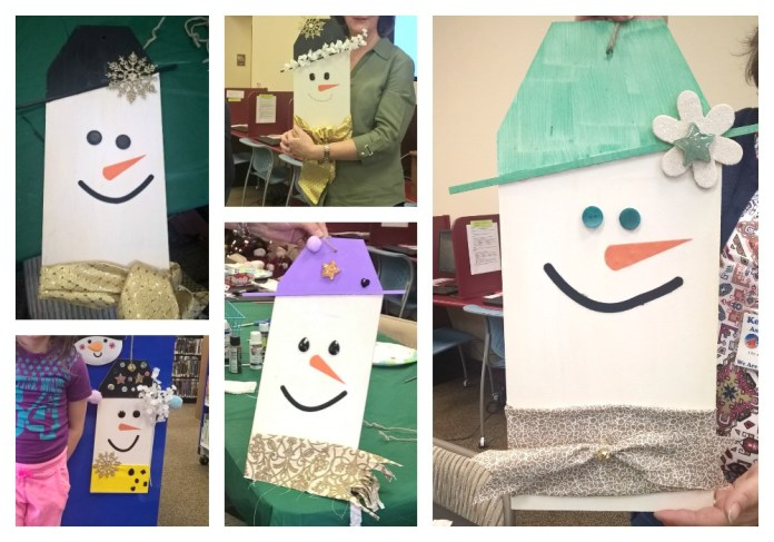 Make snowman tag decor to decorate your front door or your home with this winter. This is a great activity for groups to make together.