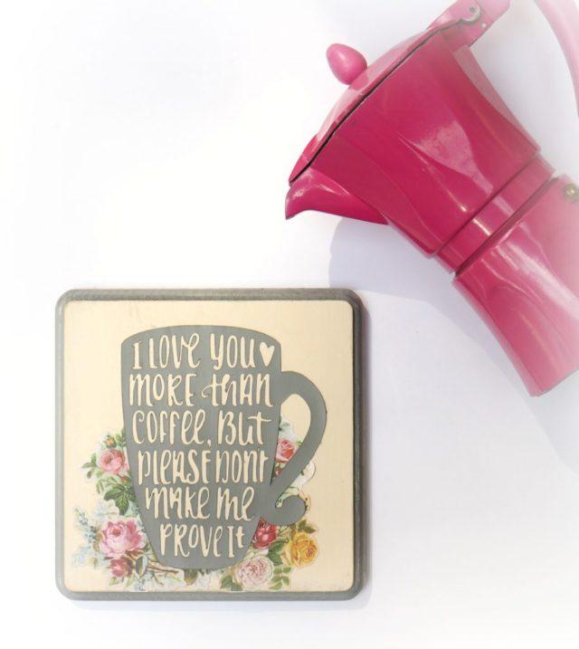 This I love you more than coffee sign adds charm and humor to your home decor!