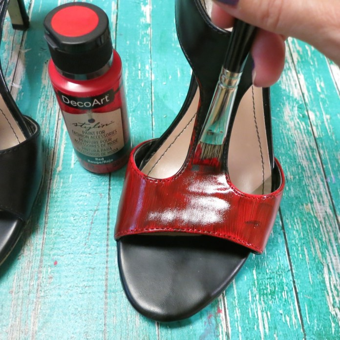 red paint on shoes