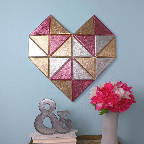 geometric heart DIY art tutorial