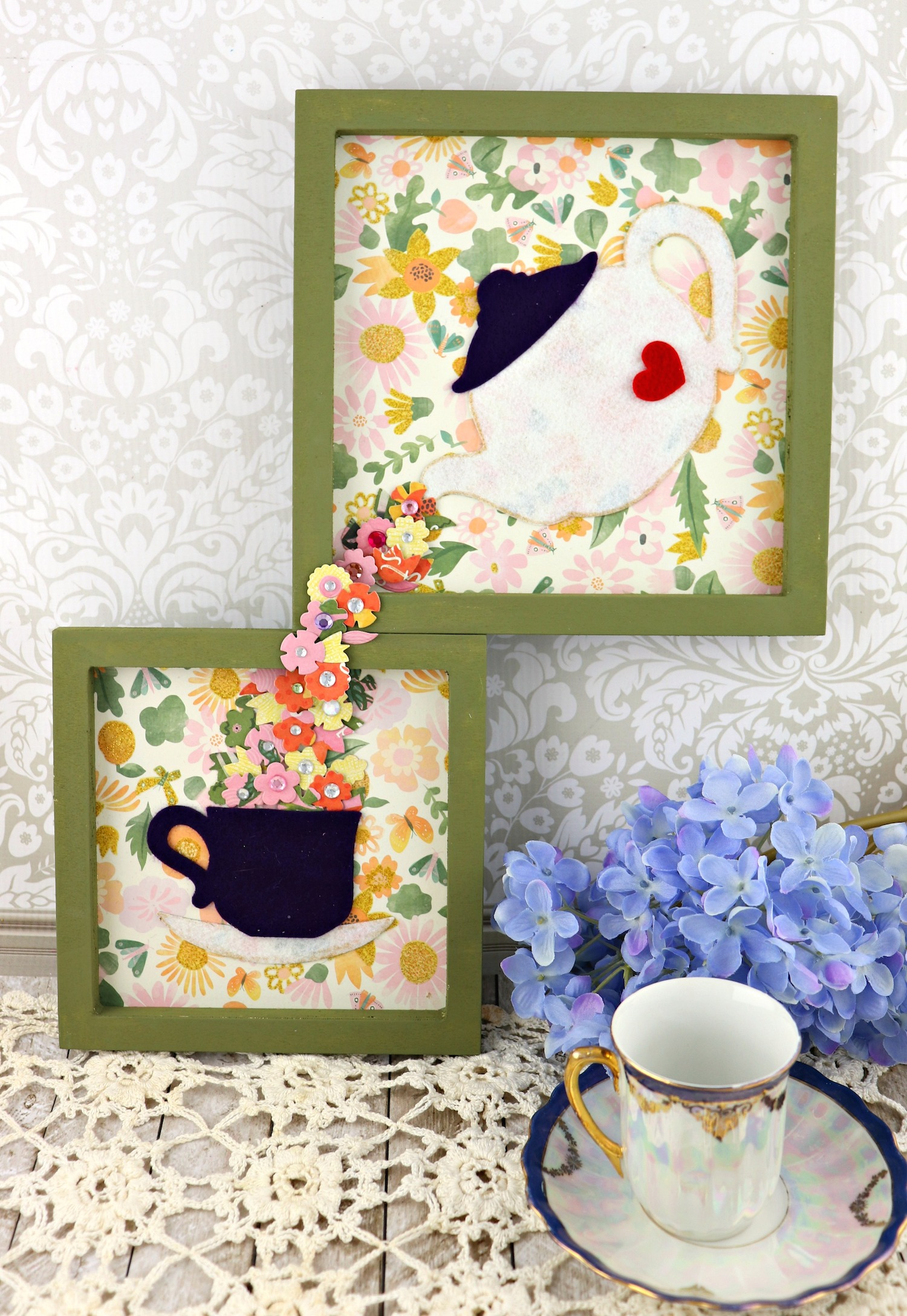tea wall art tutorial