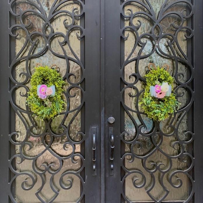 Bunny Wreaths on Doors