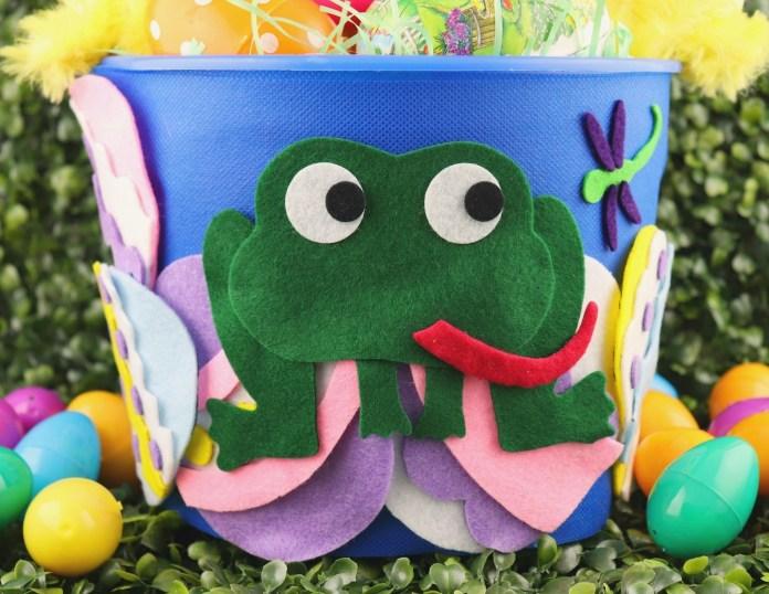 close up of frog basket DIY