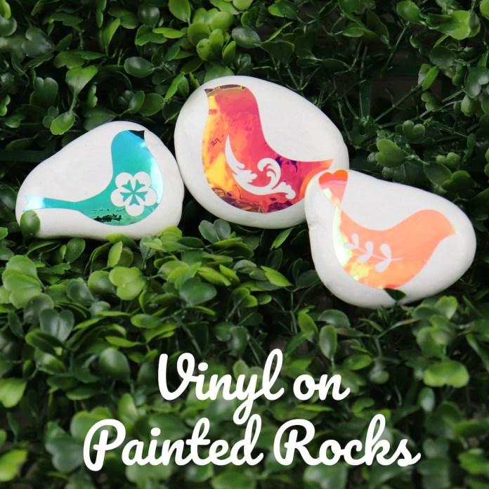opal vinyl on painted rocks
