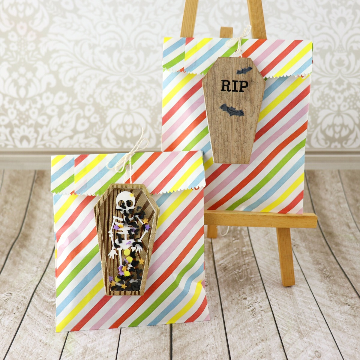 skeleton coffin shaker tag tutorial