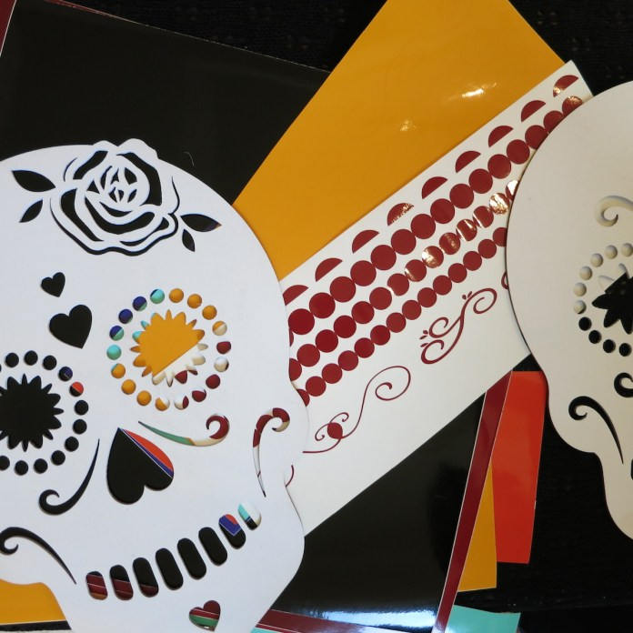 cut vinyl to decorate sugar skull iwth